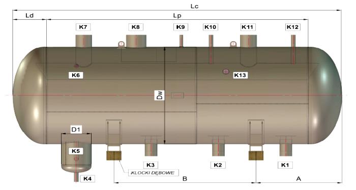 Poziomy zbiornik amoniaku - oddzielacz cieczy BZA-POC